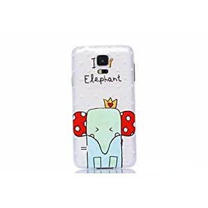 PEACH- Colored Decoration Cute Elephant Pattern Plastic Hard Case for Samsung S5 I9600