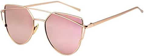 FEISEDY Cat Eye Mirrored Flat Lenses Metal Frame Women Sunglasses UV400