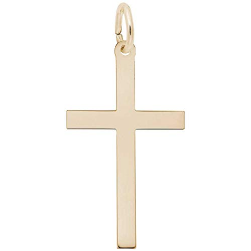Cross Charm, Gold Plated Silver