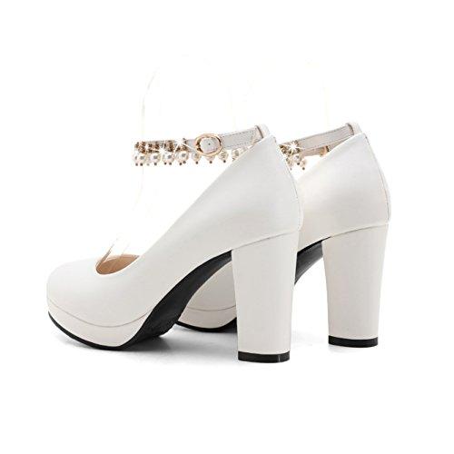 Bloc Bouche Profonde Talon amp;S White Talons Peu Femmes Ronde Chaussures MEI à Tête qwE4xpRW