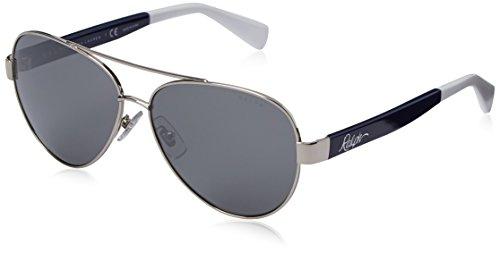 Ralph by Ralph Lauren Women's 0RA4114 Round Sunglasses, Silver,Navy,Silver & Mirror Navy, 58 - Lauren Eyewear Ralph