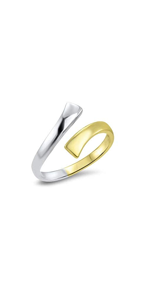 10k Yellow Gold and White Gold Toe Ring Size Adjustable