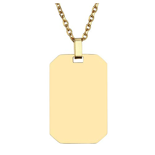 Jovivi Gold Stainless Steel Plain Dog Tag Pendant Necklace with 24 inch Chain, Gift for Dad Husband