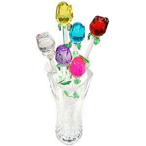 Glass Flowers - Jumbl Glass Roses - Set of 6 in Assorted Colors (13 inch)