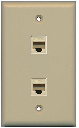 RiteAV (1 Gang Flat) 2 Cat6 Ivory Wall Plate Ivory