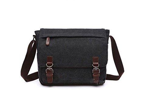 Sucastle Casual bag fashion bag retro bag Messenger bag shoulder bag canvas bag Sucastle Color:black Size:35x31x12cm