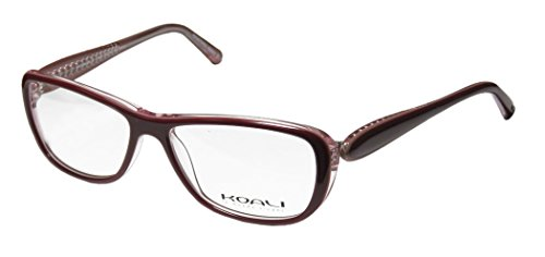 Koali 7184k Womens/Ladies Prescription Ready High-class Designer Full-rim Eyeglasses/Glasses (53-14-130, Plum / Transparent Rose)