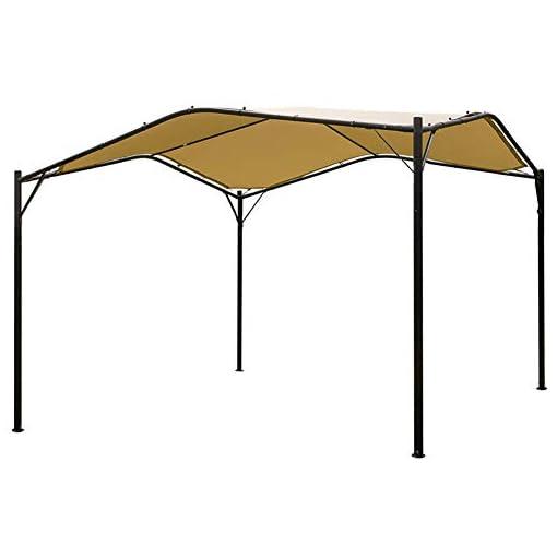 Garden and Outdoor Mefo garden 12 x 12 ft Outdoor Patio Swan Gazebo Canopy for Backyard, Iron, 250gsm Polyester Canopy, Beige pergolas