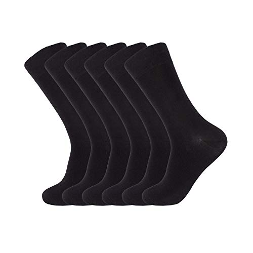 7BIGSTARS Men's Bamboo 6 Pack Dress Black Socks Size 10-13 Antibacterial Plain (Large) by 7BIGSTARS