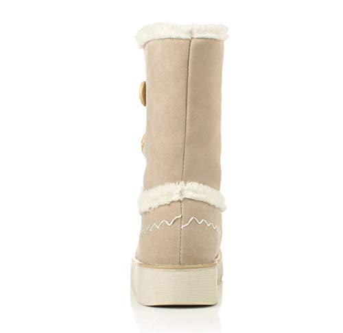 LIANGXIE damen damen damen Calf Stiefel Winter Snow Stiefel Outdoor Walking Non-Slip Schuhe Short Stiefel Short Tube Buckle Fur One Locomotive Snow Stiefel 43e386