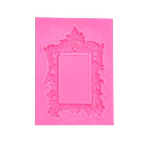 Xuways Vintage Embossed Frame Silicone Fondant Icing Mould Wedding Cake Mold Decoration Chocolate Baking Mould Tool (Pink)