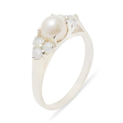 925 Sterling Silver Cultured Pearl & Opal Womens Cluster Ring - 6.25 - Size 6.25