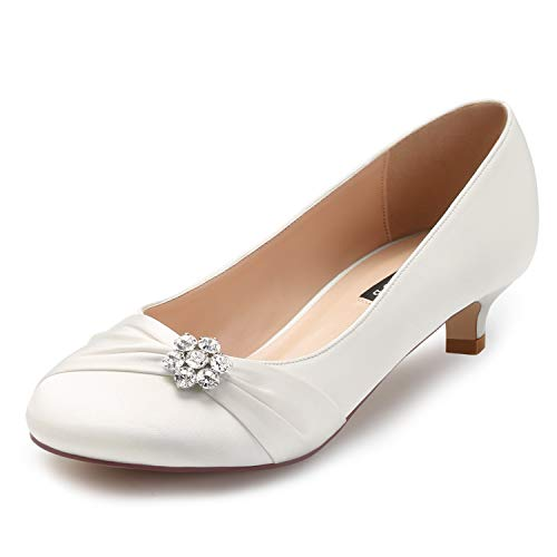 ERIJUNOR E0110 Women Closed Toe Comfort Kitten Heels Rhinestones Satin Wedding Evening Dress Shoes Ivory Size 8