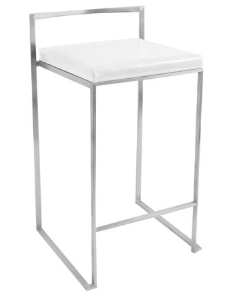 woybr csfuji w2 pu leather stainless steel fuji counter stool set of 2 - Modern Counter Stools