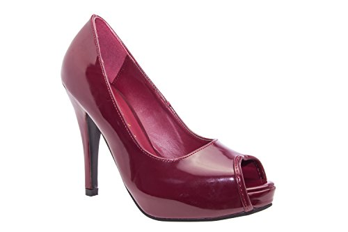 Weinrot donna plateau Machado con Andres Rosso Lack Scarpe HwOx6q