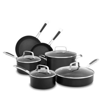 KitchenAid KC2H1S10KD Midnight Black Hard Anodized Nonstick 10-Piece Cookware Set (Kitchenaid Anodized Skillet)