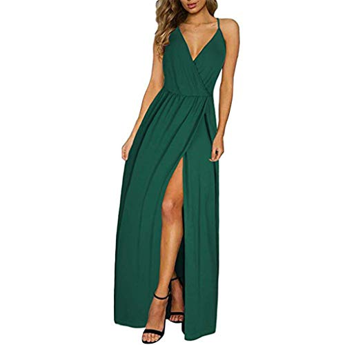 - Hot!! Womens Strappy Maxi Dresses GateLie Ladies Fashion Sexy Sleeveless Deep V-Neck Solid High Slit Long Dress Evening Party Prom Sundress Club Wear (Green, Small)