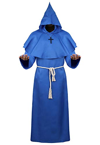 Halloween Cosplay Costume Cloak Medieval Friar Priest Monk Robe Hooded Cap Cloak for Wizard Sorcerer Blue -