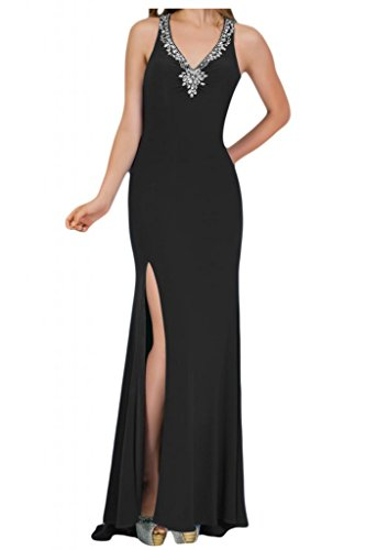 Toscana novia de mujer vestidos de Gasa de noche Rueckenfrei ranura al Prom vestidos de bola de largo negro