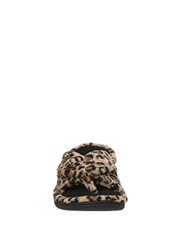 Dearfoams Womens Memoryfoam Leopard Pantofola Perizoma - Grande (9-10)
