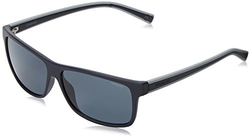 Polaroid Sunglasses Pld2027s Polarized Rectangular Sunglasses, Dark Blue Sol/Gray, 59 - 59 Polaroid