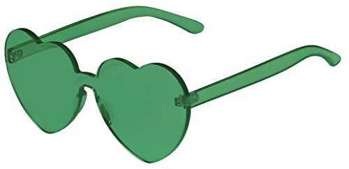 One Piece Heart Shaped Rimless Sunglasses Transparent Candy Color - Sunglasses Green
