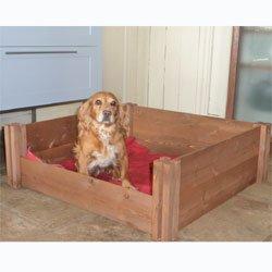 Parto de perro de madera FSC tamaño grande caja de almacenaje con barra de Pig (
