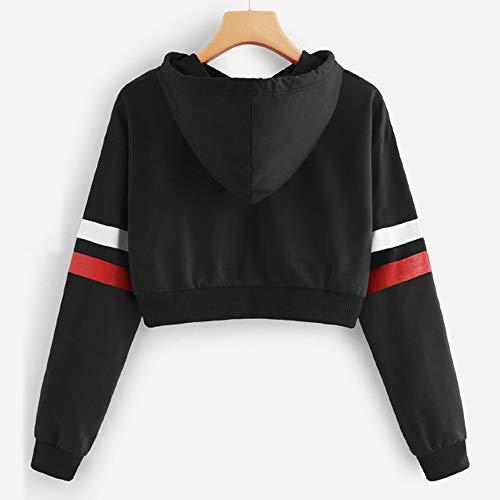 Manches Tops Sweatshirt Capuche Rayé D'épissure À Shirts Femme Longues Sweats Noir T Aimee7 W8znRpz