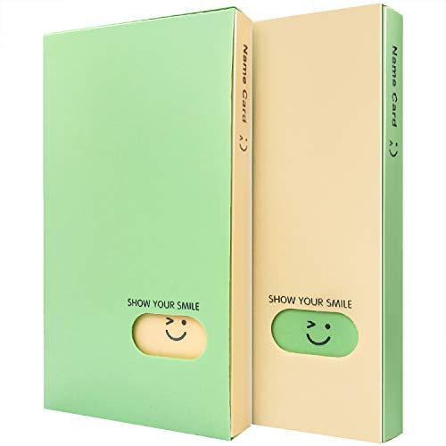 Initial Heart Business Card Book Holders 2 Pack Color Name Card Book Rack Book Case Organizer ID Cards Personal Cards Credit Cards Photo Album LOMO Cards Storage 120 Pockets (Green-Beige)