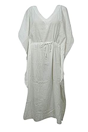 541ebfc573b0 Mogul Interior Women Caftan Dress White Drawstring Embroidered Cover Up  Kaftan One Size  Amazon.co.uk  Clothing