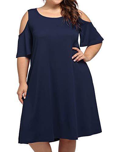 Plus Size Summer Beach Midi Dresses for Women Party,Kissmay Floral Print Vintage Mini Dress with Pockets for Maternity Lady Elegant Round Neck Oversized Tunics Dresses for Big Miss O-Neck Navy X-Large