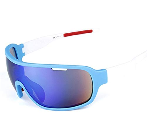 (Lorsoul Polarized Sports Cycling Sunglasses Bike Glasses for Men Women Running Driving Fishing Golf Baseball Racing Ski Goggles (Blue/White))