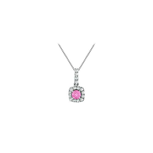 (Fancy Square Created Pink Sapphire and Cubic Zirconia Halo Pendant in Sterling Silver)