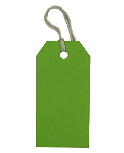 USA-Made Gift Tags Pre-Strung in Variety of Colors and Sizes (#3 = 3.75 x 1.875 inches, PRE-Strung Green) (Green Gift Tags)