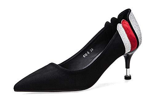 5 Yukun Tacón con Femeninos Acentuado Bajo Natural De Gato zapatos con Solo Zapatos Tacón De Color A Aguja de Juego De De Cm Black Zapatos Alto tacón alto ZZ8rFqHw