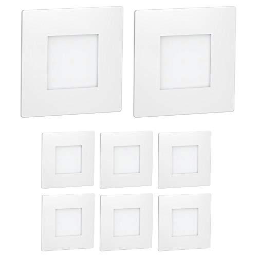 ledscom.de LED Traplamp FEX traplamp, wit, vierkant, 8,5×8,5cm, 230V, warm wit, 8 stuks.