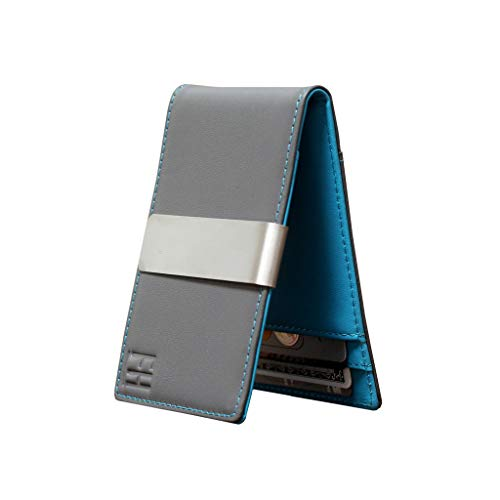 F&H Minimalist Slim Leather Wallet Money Clip Holds 8 Cards (Smooth Grey/Aqua) (Review Card Credit Aqua)