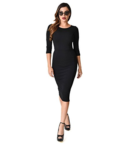 Unique Vintage 1960s Style Black Long Sleeve MOD Wiggle (Vintage Mod Dresses)