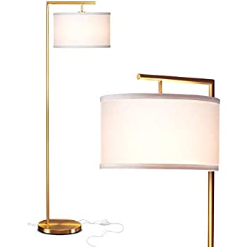 Brightech Montage Modern - LED Floor Lamp for Living Room- Standing Accent Light for Bedrooms, Office - Tall Pole Lamp with Hanging Drum Shade - Antique Brass