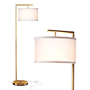 Brightech Montage Modern – LED Floor Lamp for Living Room- Standing Accent Light for Bedrooms, Office – Tall Pole Lamp with Hanging Drum Shade – Antique Brass