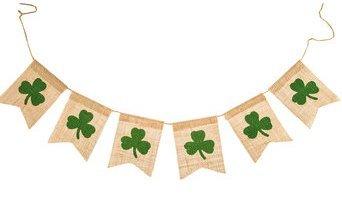 [Shamrock Burlap Banner St. Patrick's Day 5 Ft] (St Patricks Day Shamrocks)