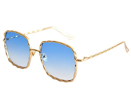 VOLCHIEN Navy Blue Square Oversized Sunglasses UV Protecion Women Golden Metal Trendy VC1008 (Gold, - Very Sunglasses Dark Tint