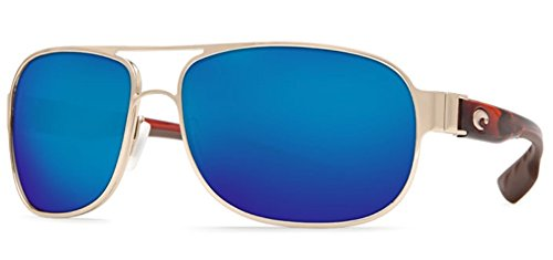Costa Conch Sunglasses Rose Gold with Light Tortoise Frame Temples Blue Mirror
