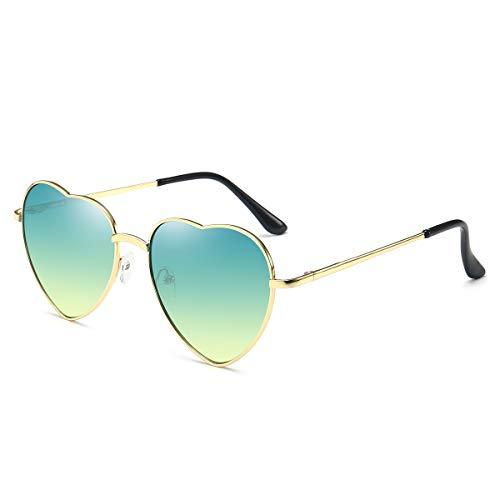- Dollger Green Heart Sunglasses Women's 70s Glasses Thin Metal Frame
