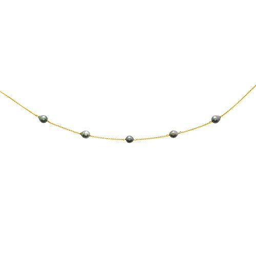 So Chic Bijoux © Collier Femme Chaîne 42 cm Perles Tahiti Reflets Verts Or Jaune 750/000 (18 carats)