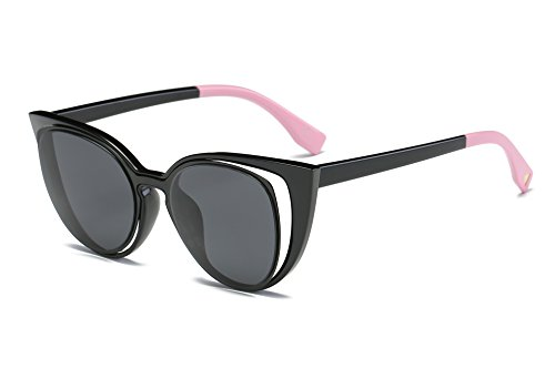 Amomoma Cat Eye Sunglasses Women Brand Designer Retro Pierced Female AM2015 Black Frame/Grey - Popular Brand Sunglasses