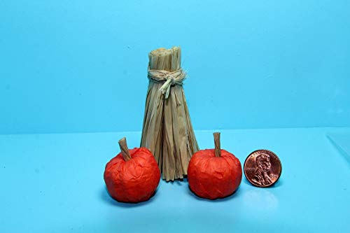ShopForAllYou Figurines and Statues Dollhouse Miniature Halloween Fall Pumpkins with Straw/Hay Stacks DHS4341 -