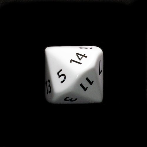 Koplow Games 28mm Opaque White D14 w/ Black Numbers 1-14 Dice (22 Sided Dice)