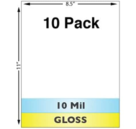 Amazon Com 10 Mil Gloss Full Sheet Laminates 10 Pack Laminating Supplies Office Products