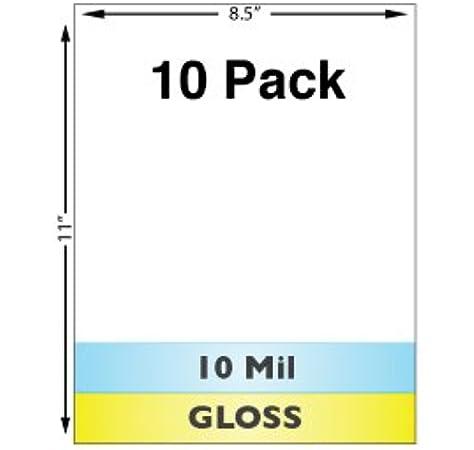 Amazon Com 10 Mil Gloss Full Sheet Laminates 10 Pack Laminating Supplies Office Products